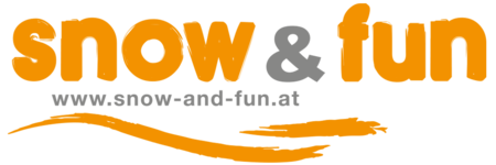 "Logo Snow & Fun: Orange-grauer Schriftzug ""snow & fun"" darunter die Webadressse www.snow-and.fun.at darunter zwei orange Wellen"